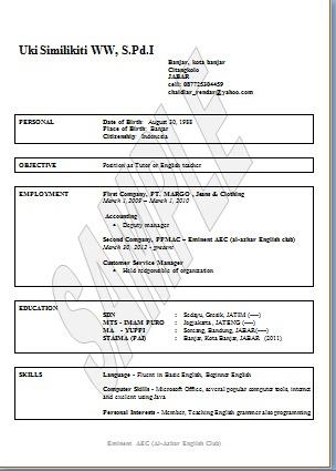 Contoh CV (Biodata) dalam Bahasa Inggris  freeaecbook